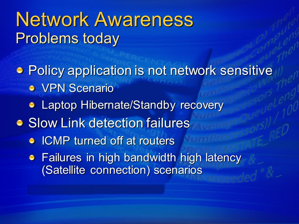 Network Awareness Problems today