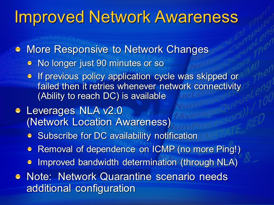 Improved Network Awareness