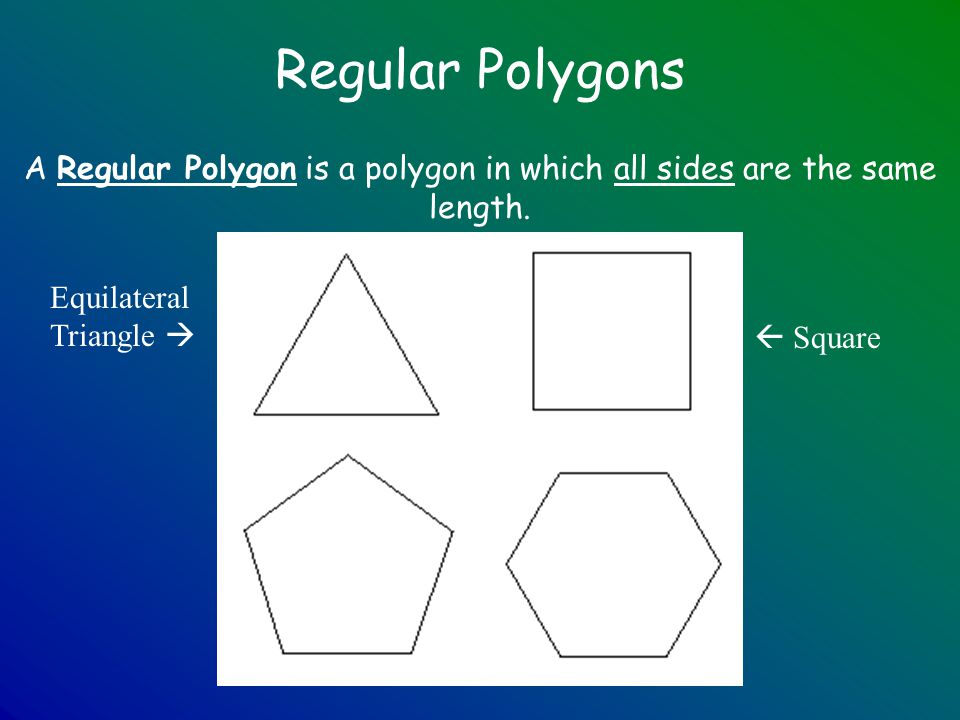 A Regular Polygon is a polygon in which all sides are the same length.