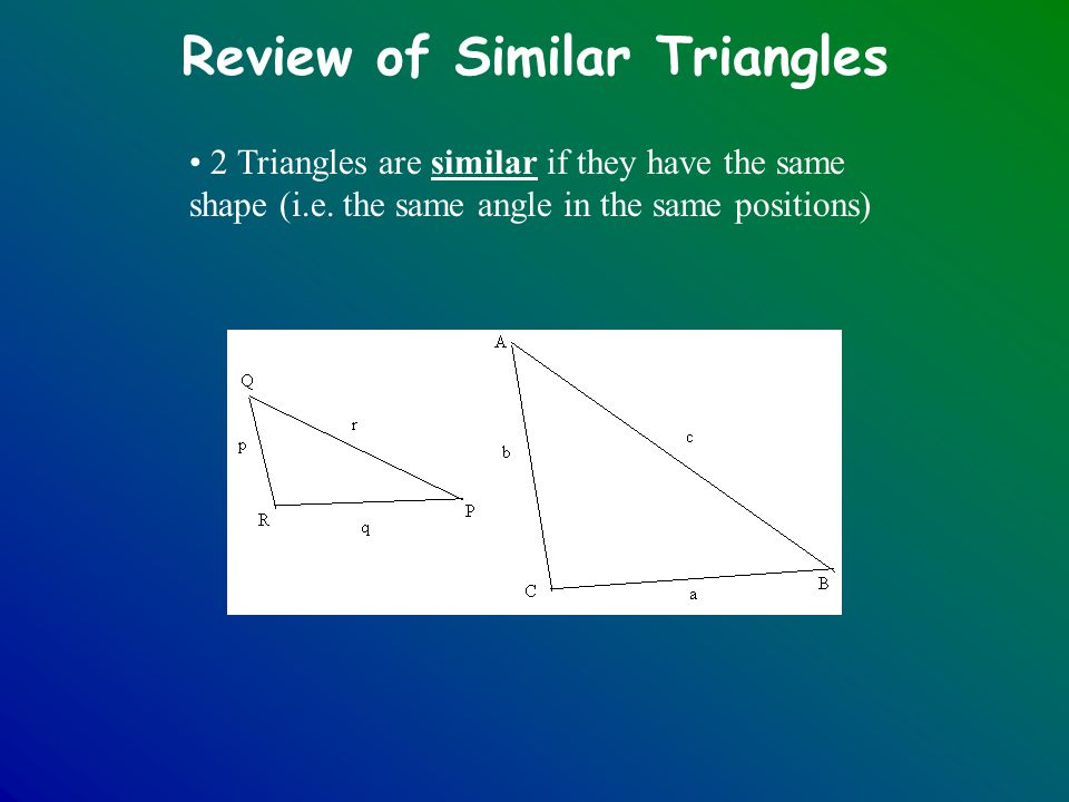 Review of Similar Triangles