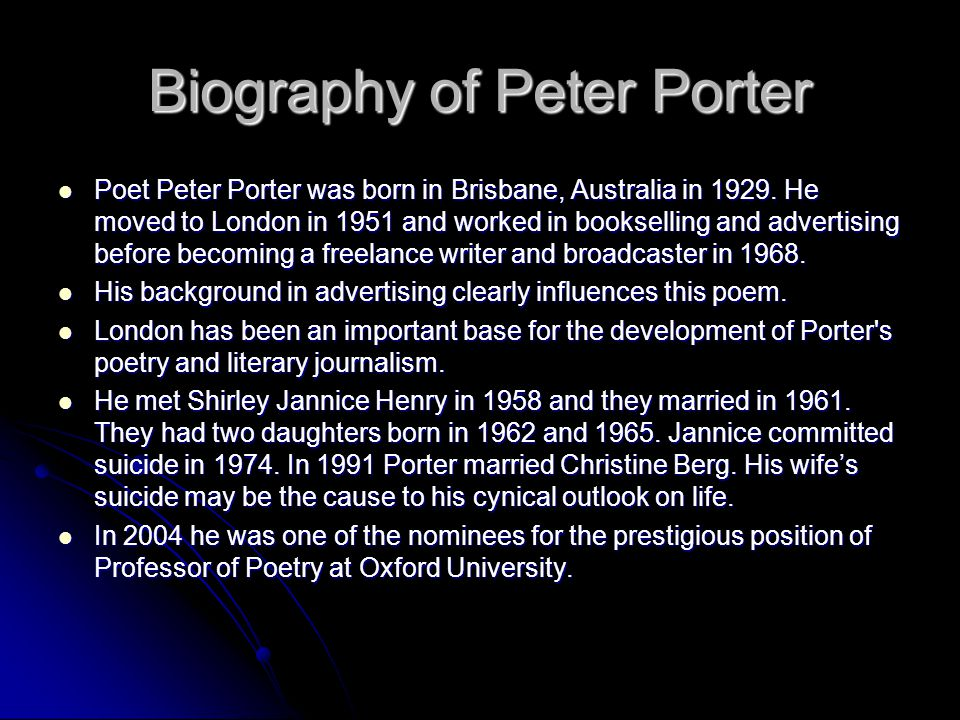 Biography of Peter Porter