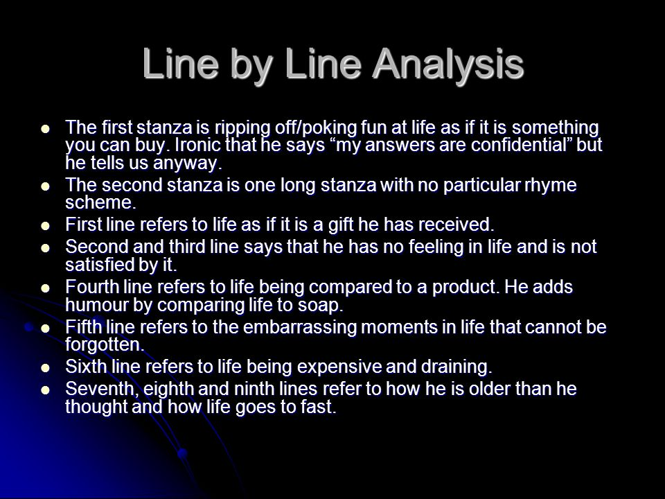 Line by Line Analysis
