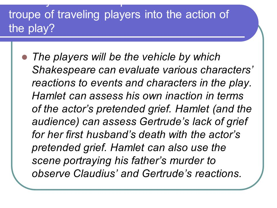 10. Why does Shakespeare introduce a troupe of traveling players into the action of the play