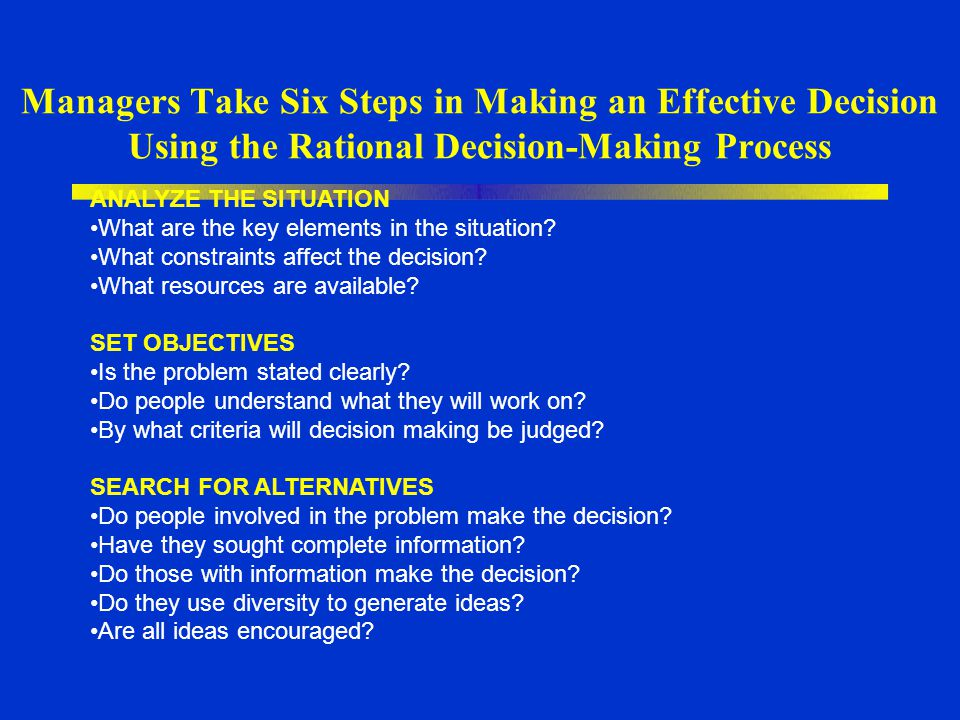 Managers Take Six Steps in Making an Effective Decision Using the Rational Decision-Making Process