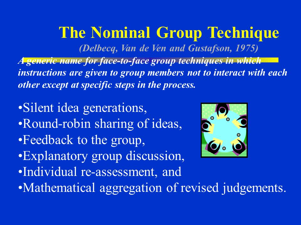 The Nominal Group Technique (Delbecq, Van de Ven and Gustafson, 1975)