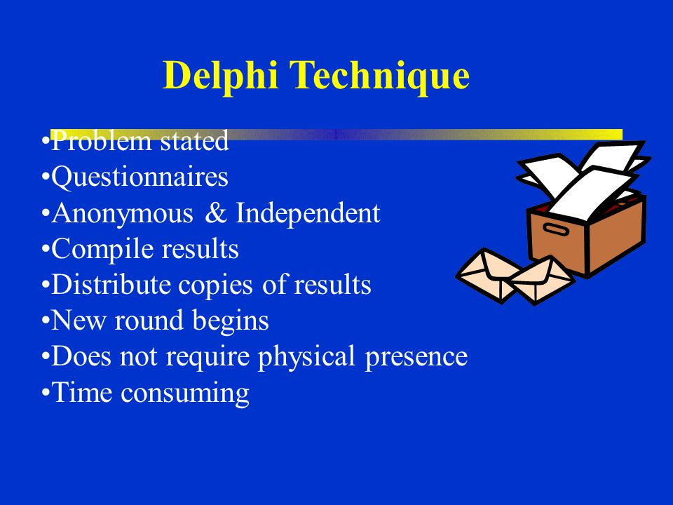 Delphi Technique Problem stated Questionnaires Anonymous & Independent