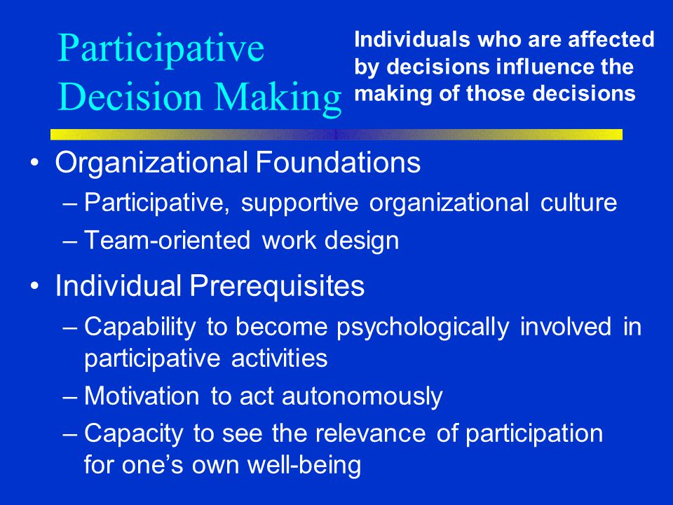 Participative Decision Making