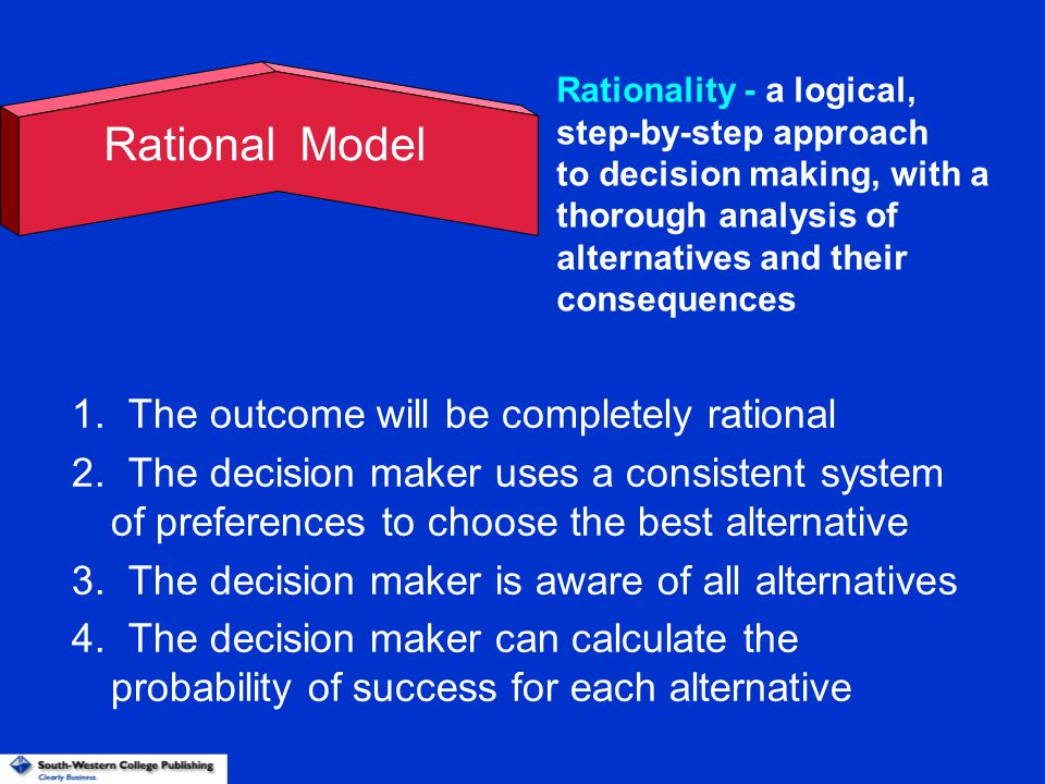Rational Model 1. The outcome will be completely rational