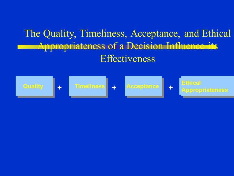 The Quality, Timeliness, Acceptance, and Ethical Appropriateness of a Decision Influence its Effectiveness