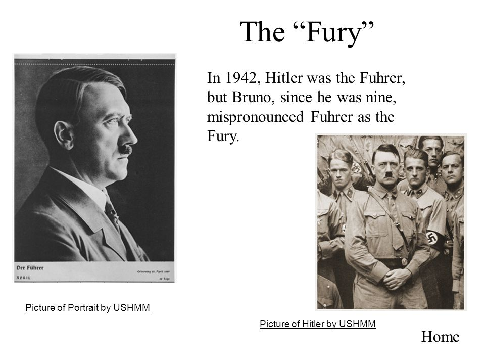The Fury In 1942, Hitler was the Fuhrer, but Bruno, since he was nine, mispronounced Fuhrer as the Fury.