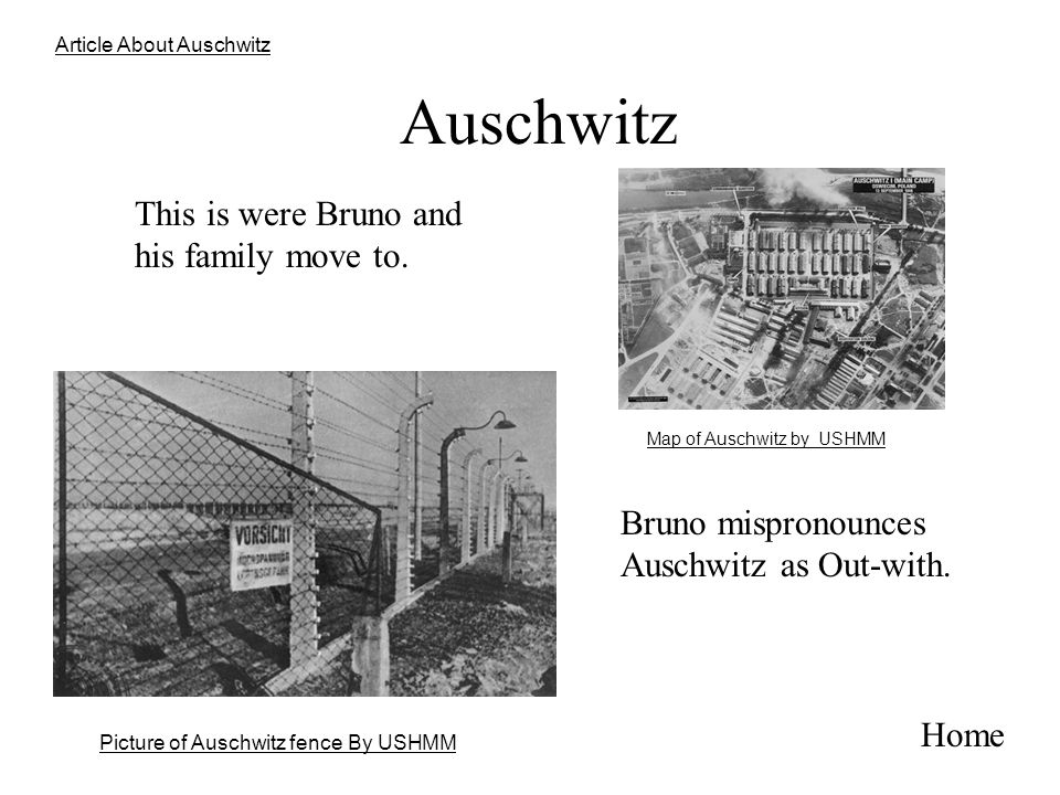 Auschwitz This is were Bruno and his family move to.