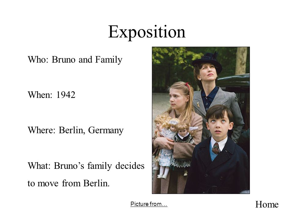 Exposition Who: Bruno and Family When: 1942 Where: Berlin, Germany