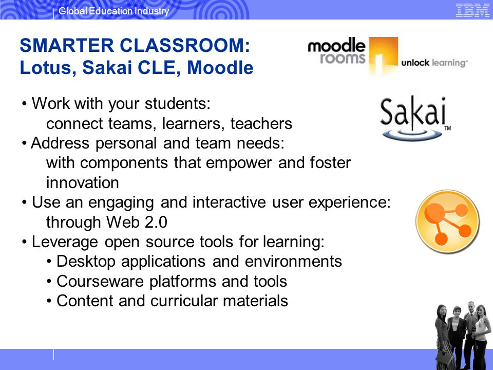 SMARTER CLASSROOM: Lotus, Sakai CLE, Moodle Work with your students: