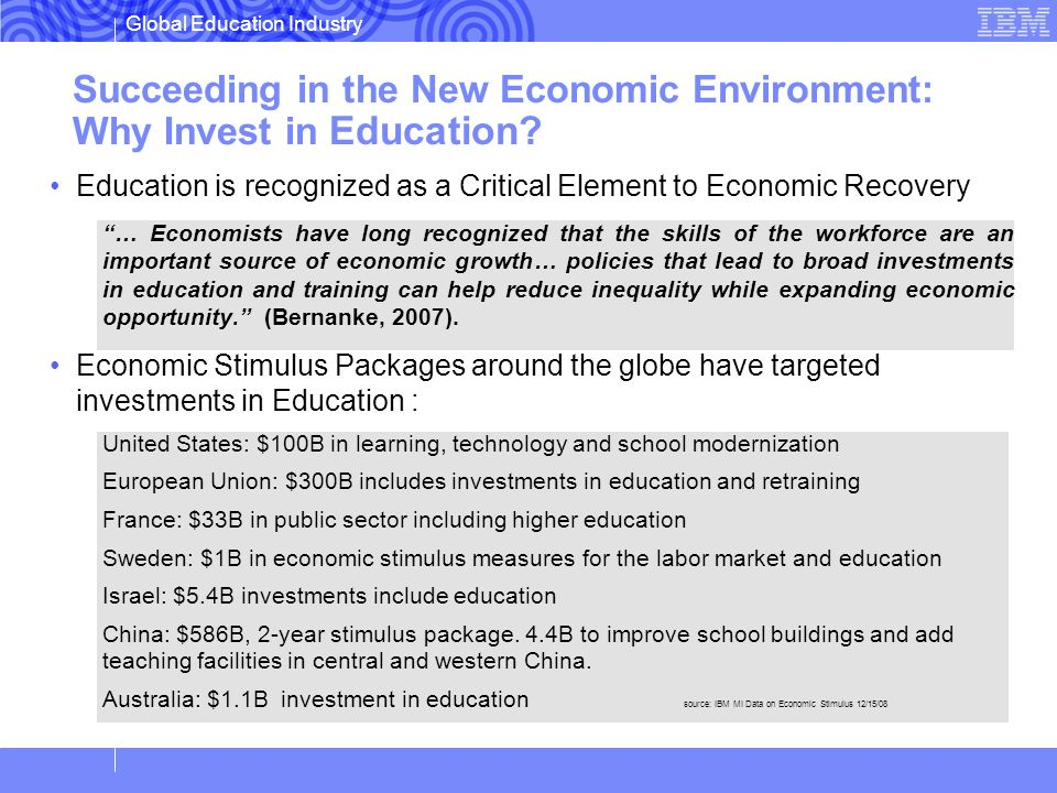 Succeeding in the New Economic Environment: Why Invest in Education