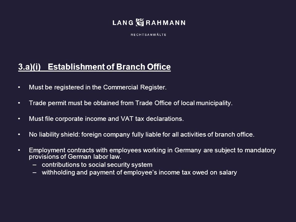 3.a)(i) Establishment of Branch Office
