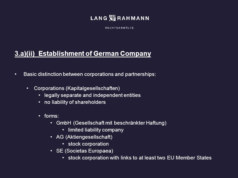 3.a)(ii) Establishment of German Company