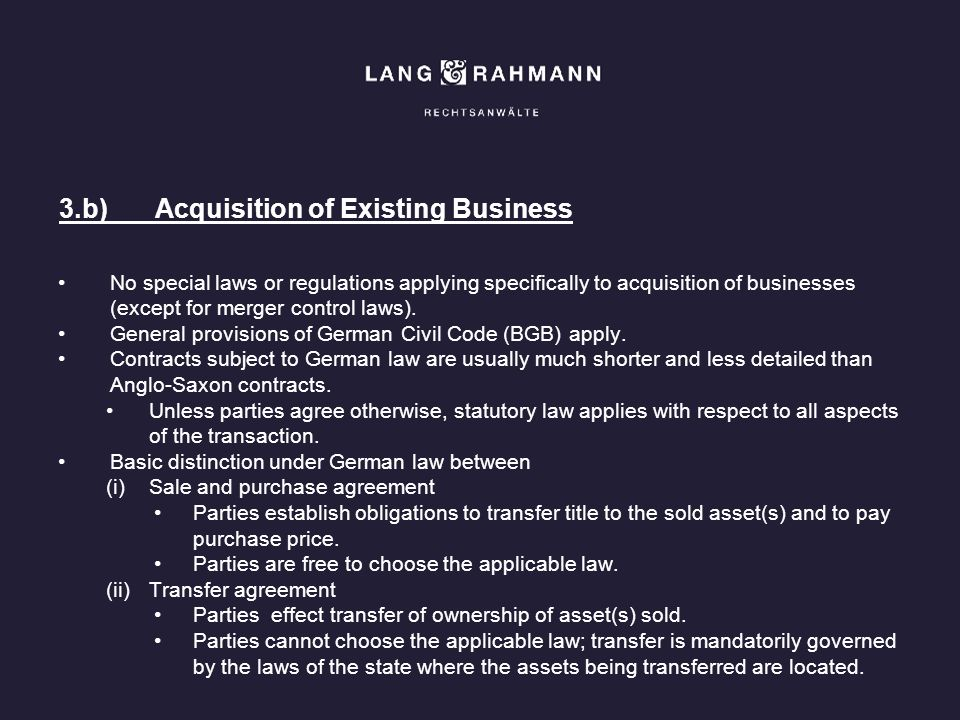 3.b) Acquisition of Existing Business
