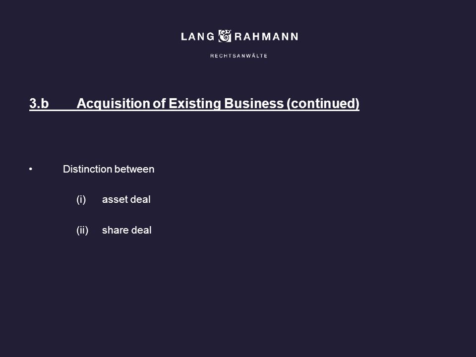 3.b Acquisition of Existing Business (continued)