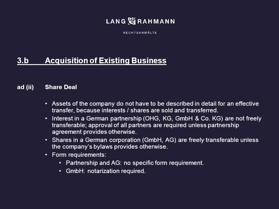 3.b Acquisition of Existing Business