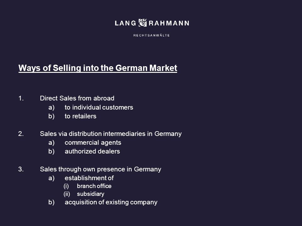 Ways of Selling into the German Market