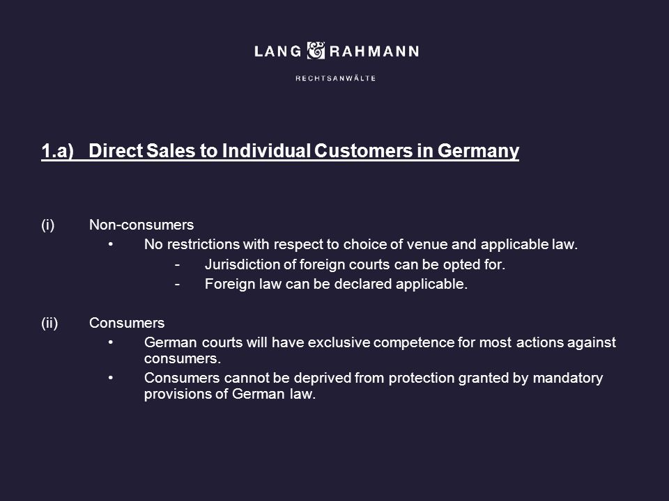 1.a) Direct Sales to Individual Customers in Germany