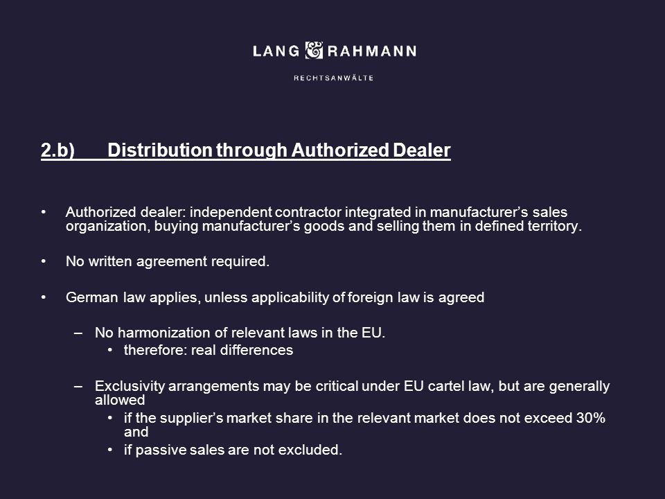 2.b) Distribution through Authorized Dealer