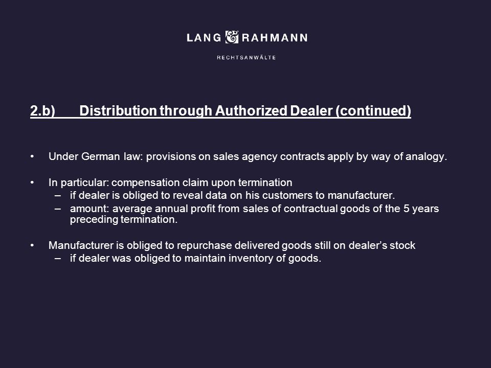 2.b) Distribution through Authorized Dealer (continued)