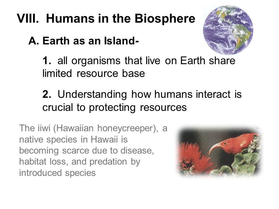 VIII. Humans in the Biosphere