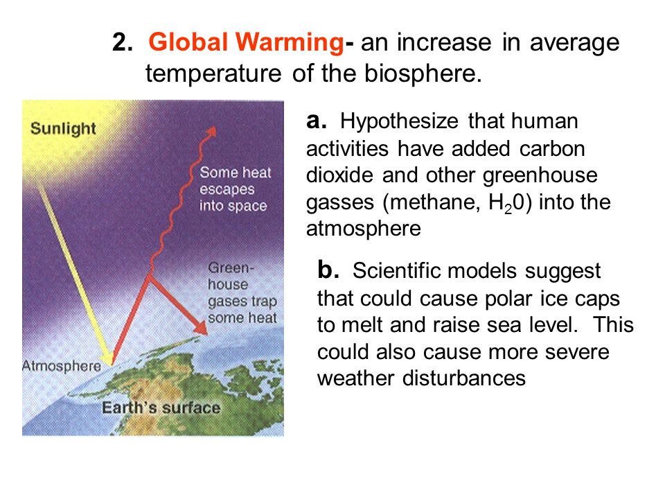 2. Global Warming- an increase in average temperature of the biosphere.