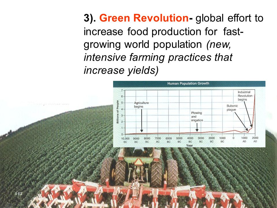 3). Green Revolution- global effort to