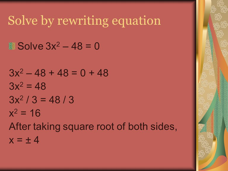 Solve by rewriting equation