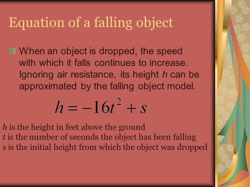 Equation of a falling object