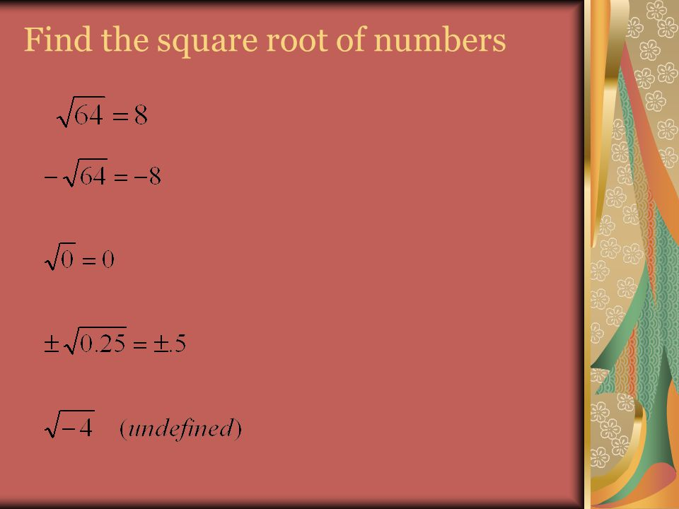 Find the square root of numbers
