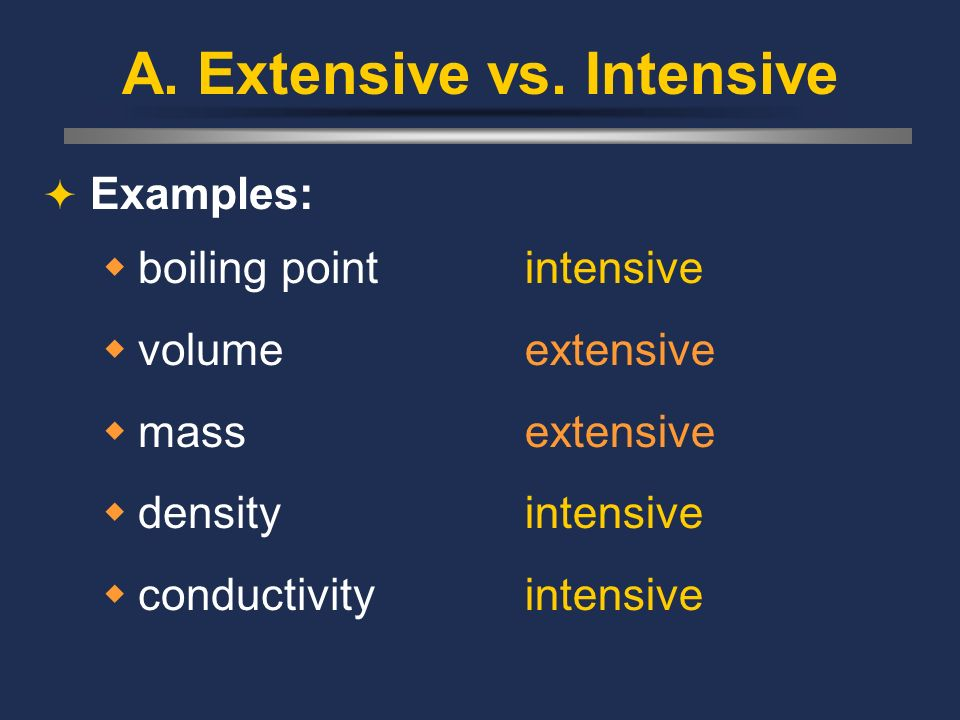 A. Extensive vs. Intensive