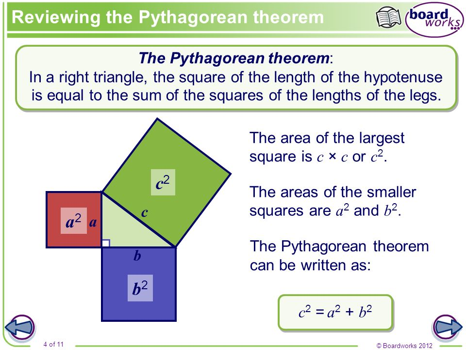 Reviewing the Pythagorean theorem