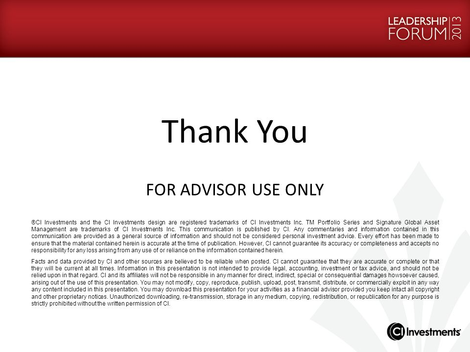 Thank You FOR ADVISOR USE ONLY