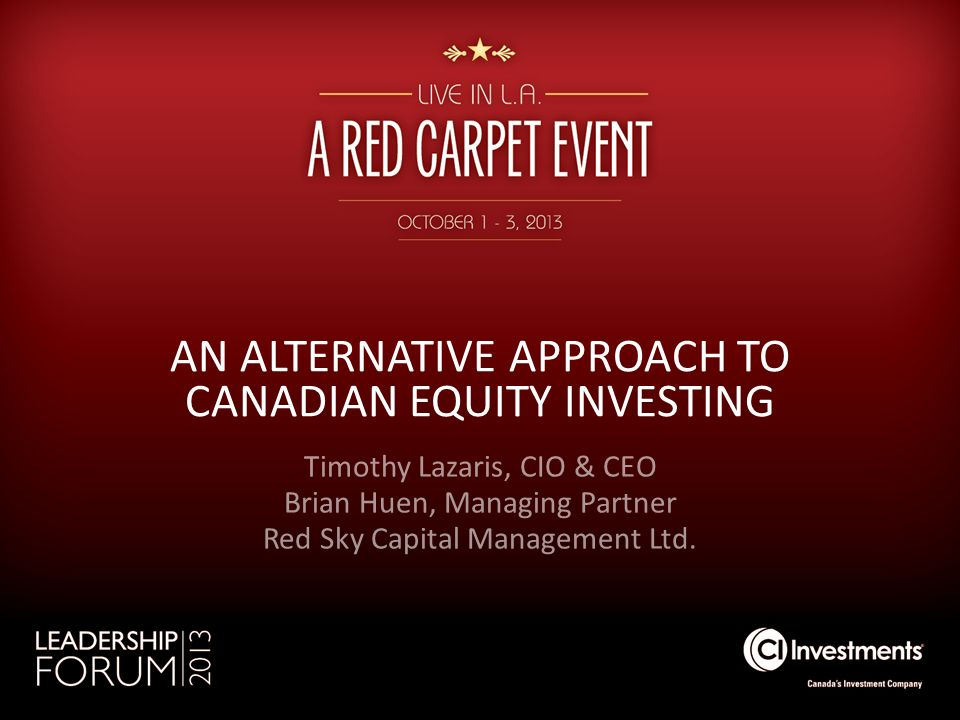 AN ALTERNATIVE APPROACH TO CANADIAN EQUITY INVESTING