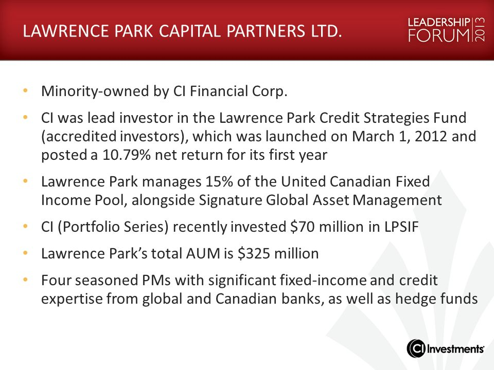 LAWRENCE PARK CAPITAL PARTNERS LTD.