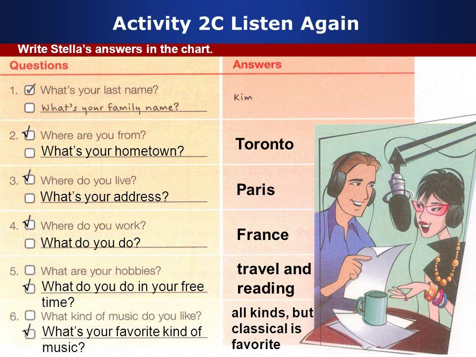 Activity 2C Listen Again