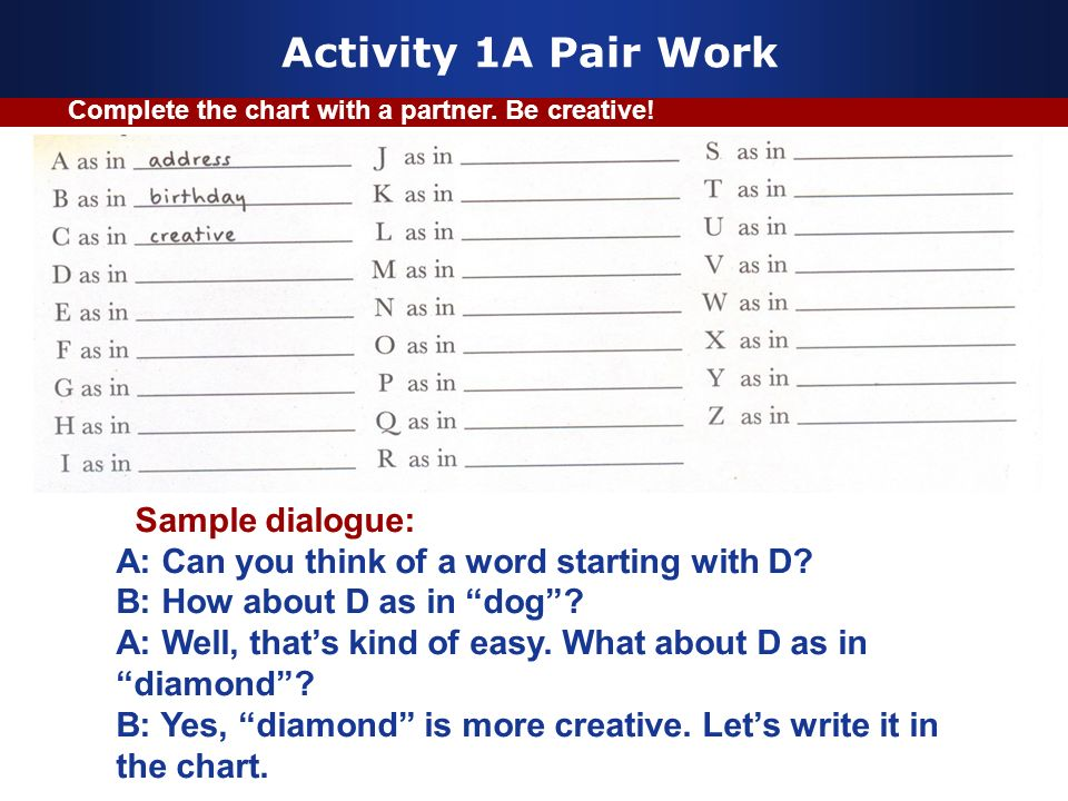 Activity 1A Pair Work Sample dialogue: