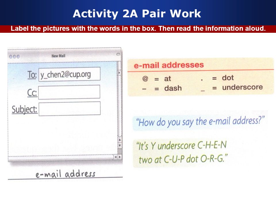 Activity 2A Pair Work Label the pictures with the words in the box. Then read the information aloud.