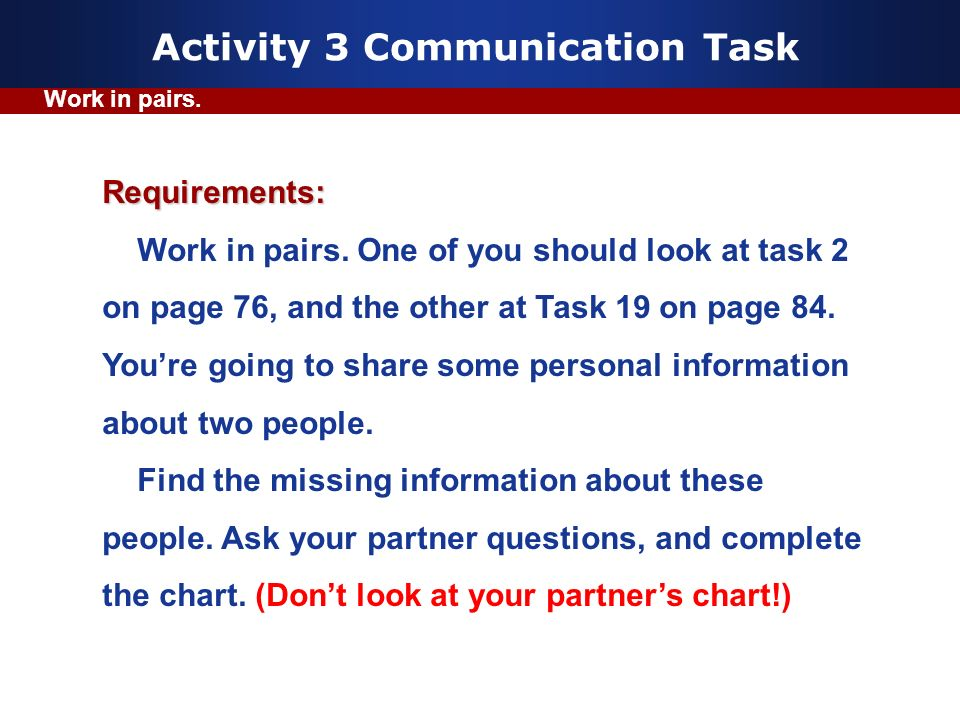Activity 3 Communication Task