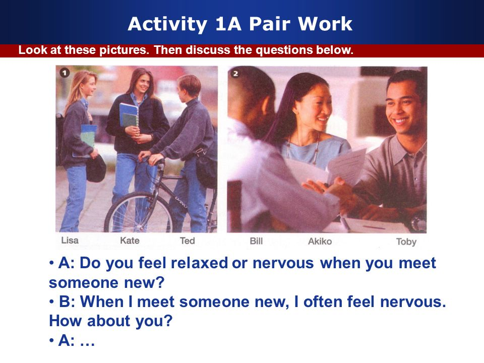 Activity 1A Pair Work Look at these pictures. Then discuss the questions below.