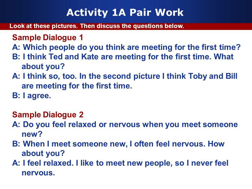 Activity 1A Pair Work Sample Dialogue 1