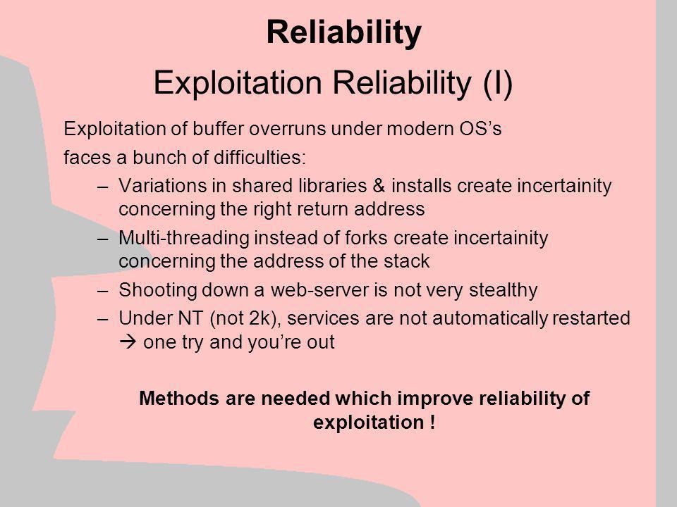 Exploitation Reliability (I)