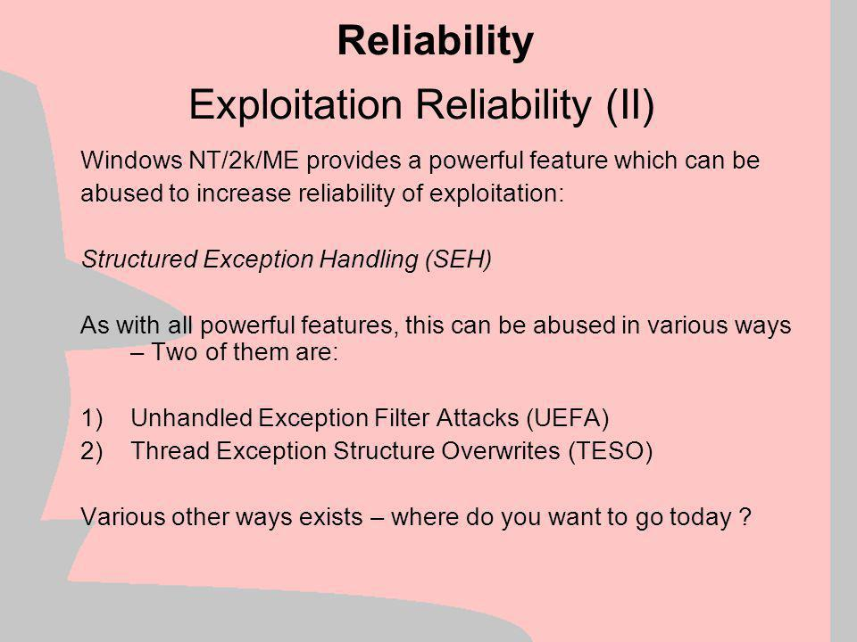 Exploitation Reliability (II)