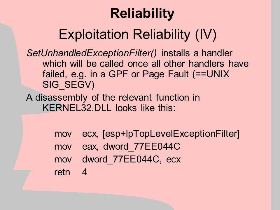 Exploitation Reliability (IV)