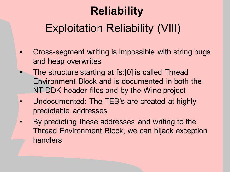 Exploitation Reliability (VIII)