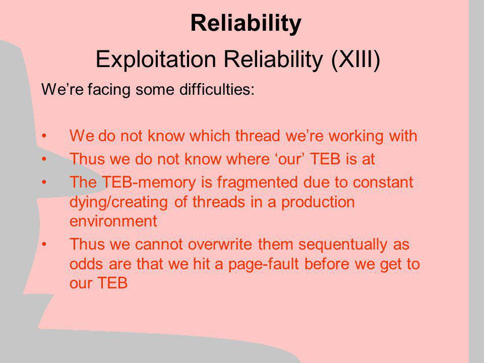 Exploitation Reliability (XIII)
