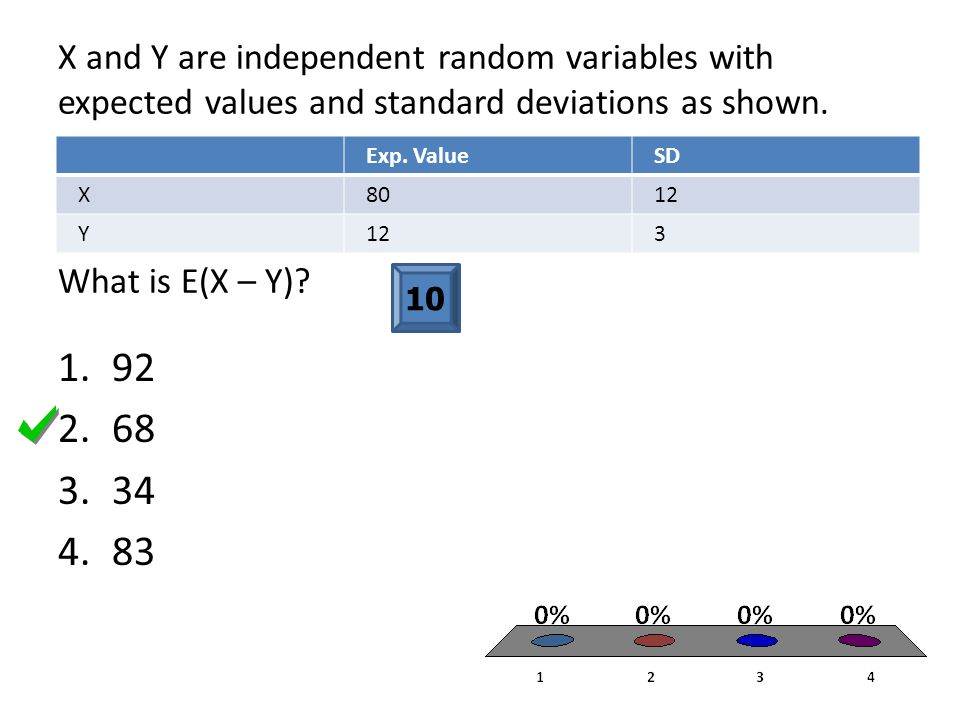 X and Y are independent random variables with expected values and standard deviations as shown. What is E(X – Y)